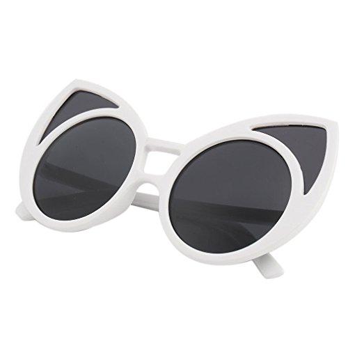 A&S Creavention 2017 New Fashion Charm Cat Ear Design Plastic Shades Lens Reflective Sunglasses Eyewear (White, - Cat Glasses Ear