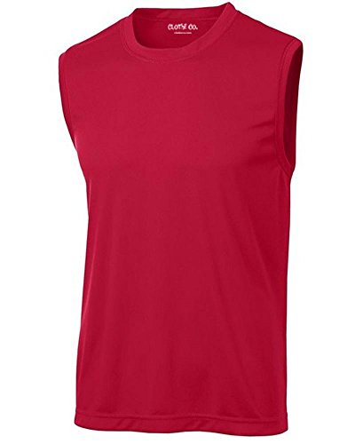 Clothe Co. Mens Sleeveless Moisture Wicking Muscle Shirt, True Red, M