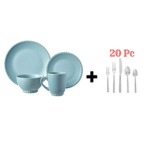 Better Homes and Gardens 16 Piece Dinnerware Set (16 Piece, Pearl Blue)