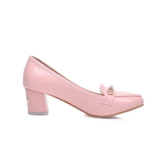 Shoes Pointed Heels Kitten Solid Pull Toe Pink Closed Womens On AmoonyFashion Pumps vf5waqFq