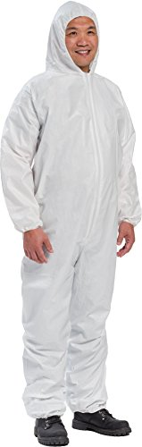 West Chester 3406 M PE Laminate Coverall Hood with Elastic Wrist & Ankles, Medium, White (Pack of 25) by West Chester (Image #1)