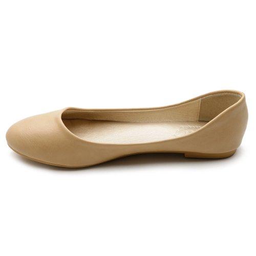 Ollio Mujeres Shoe Ballet Basic Light Comfort Low Heel Flat Beige