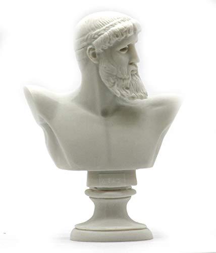 Greek Roman King God Zeus Bust Head Alabaster Statue Sculpture 6.3