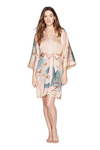 Kim + ONO Women's Kimono Robe Short - Watercolor Floral (Maren- Bisque) ()