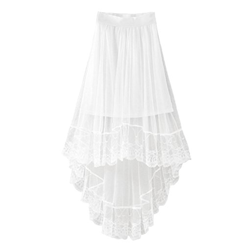 Chiffon Maxi Skirt Gothic Long Dress Gauze See Through Mesh Tulle Lace Design for Women Girl- White