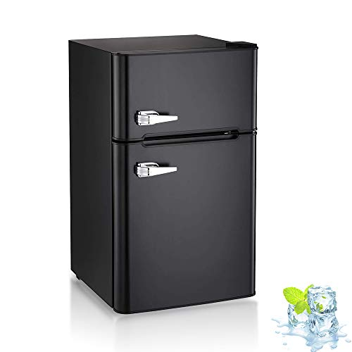 3.2 Cu.ft Compact Double Door Refrigerator and Freezer, Freestanding Mini Fridge with Top Door Upright Freezer for Home,Dorm,Office or RV with Removable Glass Shelves (Black)