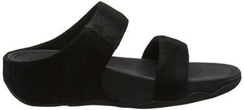 Fitflop Lulu Slide Sandals-Shimmer-Check, Sandalias con Punta Abierta Para Mujer Black (Black)