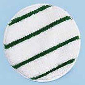 Rubbermaid P269 Low Profile Scrub-Strip Carpet Bonnet, 19'' Diameter, White/Green, 5/Carton