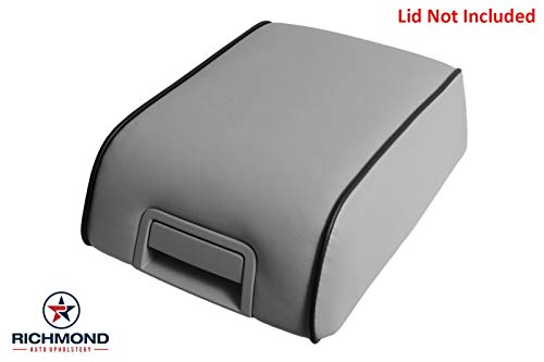 Richmond Auto Upholstery Replacement Leather Center Console Lid Cover Medium Dove Gray with Black Piping (Compatible with 2007-2008 Lincoln Mark LT) (Medium Dove ()