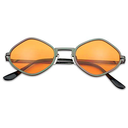Full Metal Geometric Color Tinted Flat Lens Designer Inspired Sun Glasses (Gunmetal Frame | Orange) ()