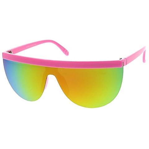 sunglassLA - Futuristic Neon Semi-Rimless Flat Top Mirror Mono Lens Shield Sunglasses 65mm (Pink / Magenta Green (Magenta Green)