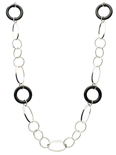 Sterling Silver Large Oval and Round Twisted Links Cable Chain Black Onyx Rings Necklace 26 Inches