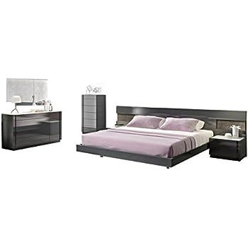 Amazon Com J Amp M Furniture Braga Grey Lacquer Queen Size