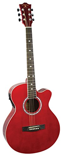 INDIANA Madison 6 String Acoustic Electric Guitar, Red (MAD-RD)