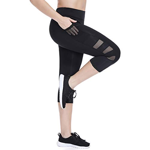 a3cc3ad9819c1 High Waisted Leggings for Women Girls with Pockets Workout Yoga Capri Pants  Running Tights