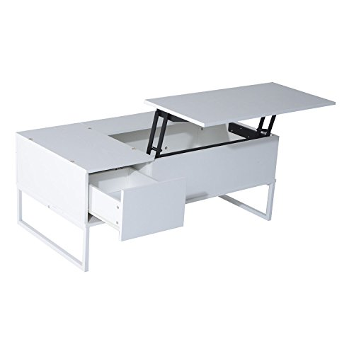 Modern 43'' White Tea Table Lift Top Storage Drawer With Ebook by mrtea