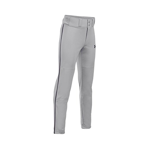 Under Armour Boys' Clean Up Piped Baseball Pants, Baseball Gray/Black, Youth Large
