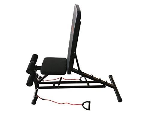 Banco de ejercicios, universal, para pesas, abdominales, lumbares, de entrenamiento, con gomas para pectorales: Amazon.es: Deportes y aire libre