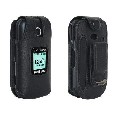 Gusto 3 Case, Verizon Leather Fitted Phone Case with Swivel Rotating Belt Clip Holster for Samsung Gusto 3 - Black ()