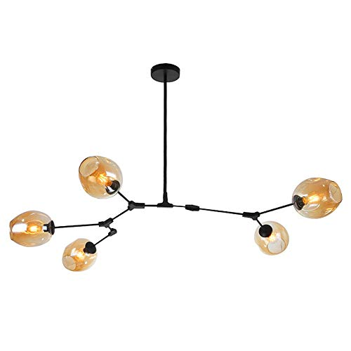 Thaisan7, Industrial Glass Chandelier Branching Vintage Light Pendant Lamp Ceiling Fixture Luxury Life styl Home Decore -5 Head Light, Amber Bubble, Black Branch