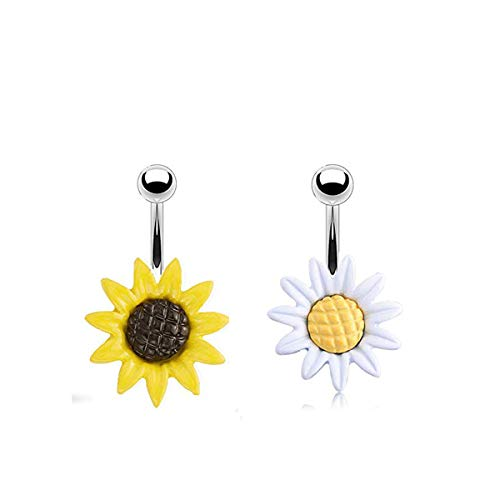 RYANDYPE 2PCS Stainless Steel Sunflower Belly Button Rings Dangle Belly Button Rings for Women Curved Navel Barbell Screw Body Jewelry Piercing ()