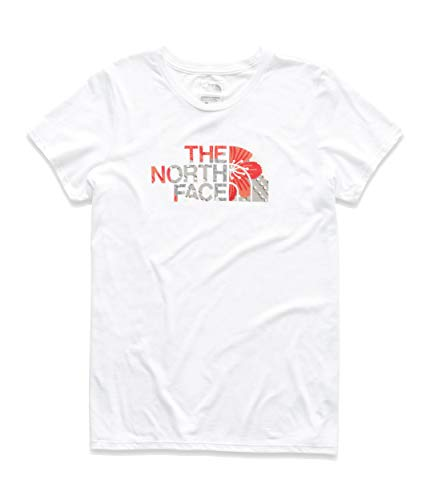 Face Jersey The Print North - The North Face Women's Short Sleeve Half Dome Tri-Blend Crew Tee, TNF White Heather/Spiced Coral Desert Floral Print, Size XL