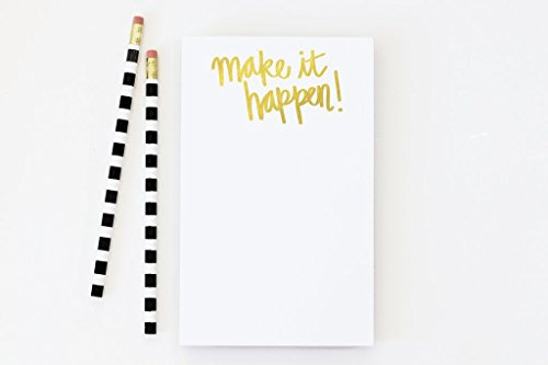 Gold Foil Notepad Make it Happen To Do List Note Pad Daily Planner Checklist Gold School Supplies Girls Office New Job Gift Teacher Notepad by When it Rains Paper Co.