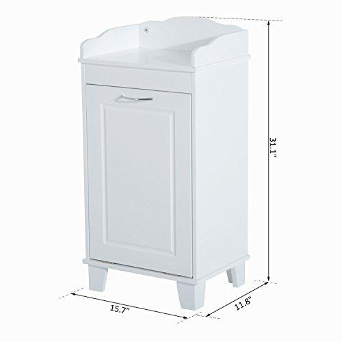 New White Bathroom Hamper Wood Laundry Tilt Out Basket Storage Bench Furniture Cabinet by totoshop (Image #2)
