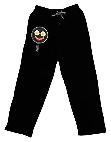 TooLoud Eggs and Bacon Smiley Face Adult Lounge Pants - Black- 2XL (Smiley Face Lounge Pants)