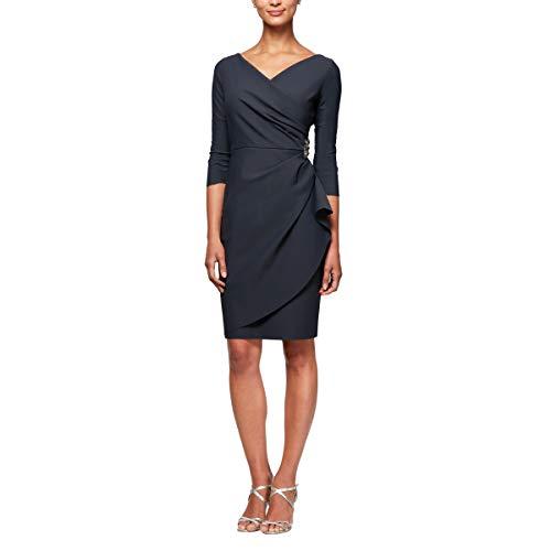 Alex Evenings Women's Short 3/4 Sleeve Slimming Sheath Dress, Petite Charcoal 12P