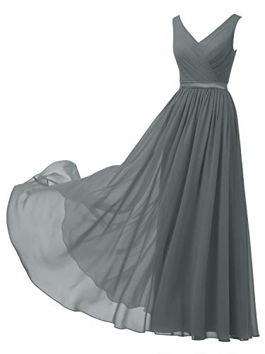 Alicepub V-Neck Chiffon Plus Size Bridesmaid Dress Long Formal Gown Party Evening Dress Sleeveless, Steel Grey, US18