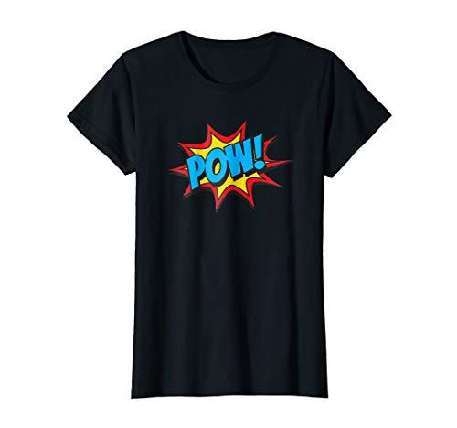 Womens Comic Book Pow Shirt Funny Retro Superhero