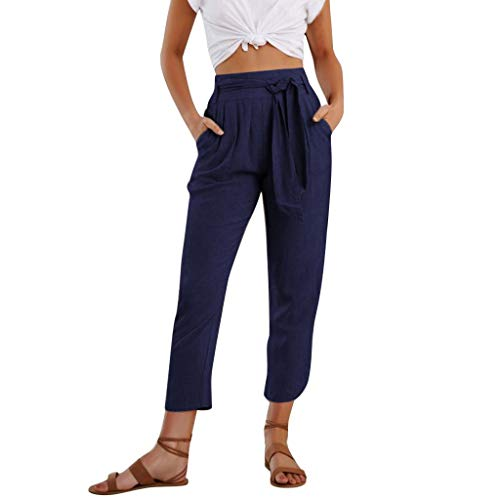 (LUXISDE Trousers for Women High Waisted Womens Ankle Length Pants Cotton High Waist Solid Color Trousers Ladies Pants Trousers for Women 2030(Navy,S))