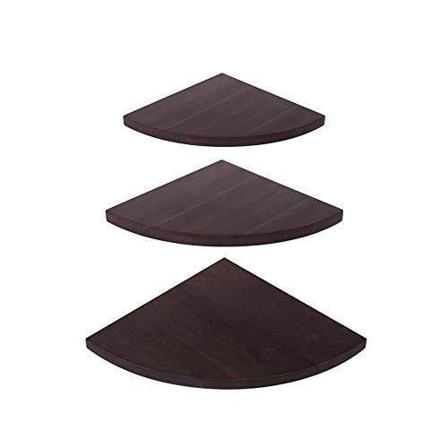 (OROPY Wall Mount Solid Wood Floating Corner Shelves Set of 3, Rustic Wall Storage Display Rack for Bedroom, Living Room, Kitchen, Office (11.4'' - 9.8'' - 7.8''))