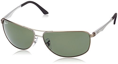 Ray-Ban Men's RB3506 Rectangular Metal Sunglasses, Matte Gunmetal/Polarized Green, 64 mm
