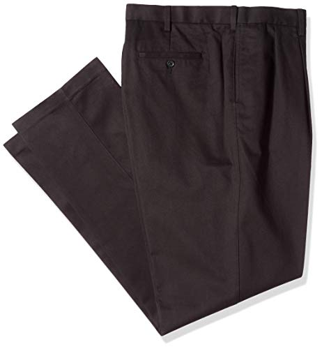 No Iron Black Pleated Pants - Savane Men's Big and Tall Pleated Performance Chino Pant, Black, 44W x 28L
