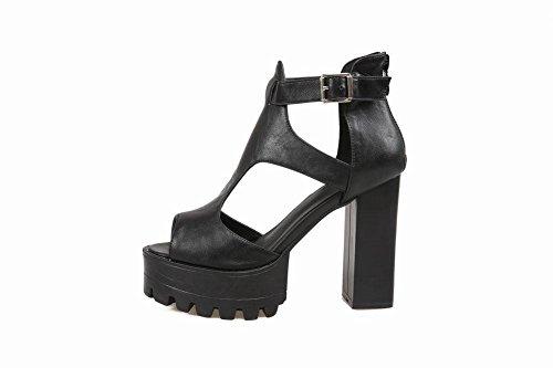 Carolbar Womens Peep Toe Platform Zip Buckle Sexy Fashion Popular Chunky High Heel Dress Sandals Black QUXvMZ