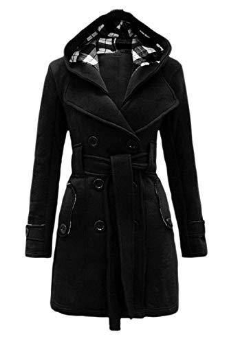 Termica Doble Fashion con Outwear Vintage Invierno Botonadura Fit Chaquetas Elegantes Cinturón De Encapuchado Abrigos Slim Espesor Larga Casual Mode Mujer Otoño Negro Marca Manga Chaqueta BwvqIv1xZE