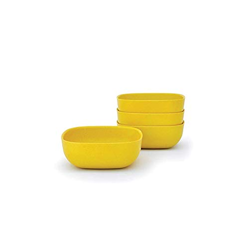 EKOBO Bamboo 24oz Bowl Set, Service for 4, BIOBU Eco-material, Indoor/Outdoor dining, Lemon (Yellow)
