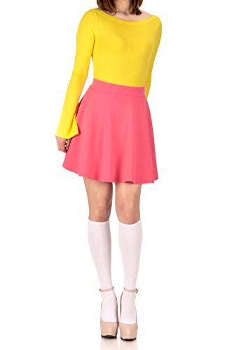 Basic Solid Stretchy Cotton High Waist A-line Flared Skater Mini Skirt (XS, French Rose) -