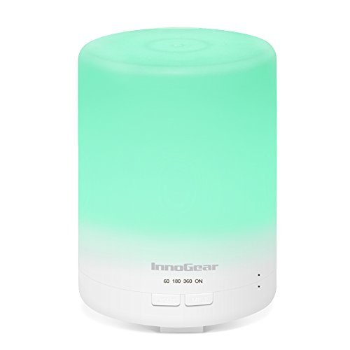 InnoGear 2nd Generation 300ml Aromatherapy Essential Oil Diffuser Aroma Cool Mist Humidifier with Timer Waterless Auto Shut-off and 7 Color LED Night Lights for Home Office Baby
