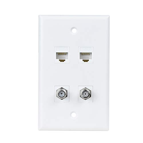 2 Ethernet 2 Coax Wall Plate - 2 Cat6 Ethernet Jacks and 2 Coax Cable TV F-Type Faceplate - White ()