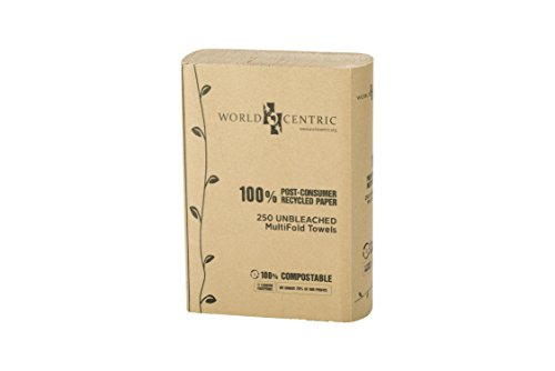 (World Centric TW-PA-MF Compostable 100% Post Consumer Recycled Paper Unbleached Multifold Towels, 1-ply (16 Packs of 250))
