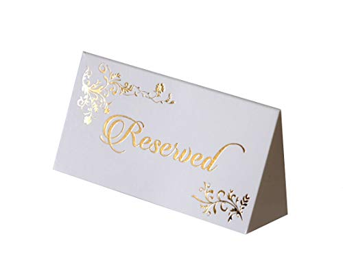 K11 Photo Design Reserved Table Sign Gold Foil - 20 pack - Place Cards Wedding Party Collection ( Place card Reserved)