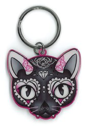 Design Skull Awesome (Miss Cherry Martini - Fab Sugar Skull, Pink Cat Design - Awesome Metal Keychain - 1.75)