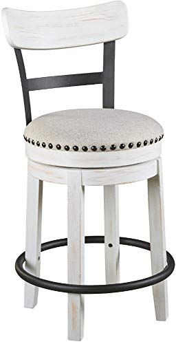 Ashley Furniture Signature Design - Valebeck Upholstered Swivel Barstool - Casual Style - Light Brown (White Stools)