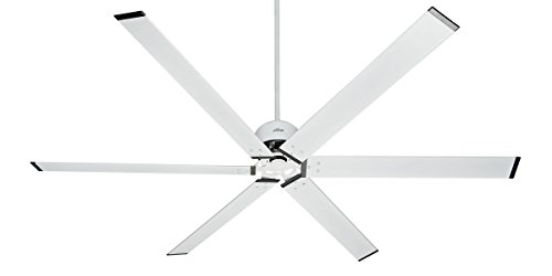"Hunter 59132 Industrial 96"" Ceiling Fan with 6 Aluminum Blades, White"