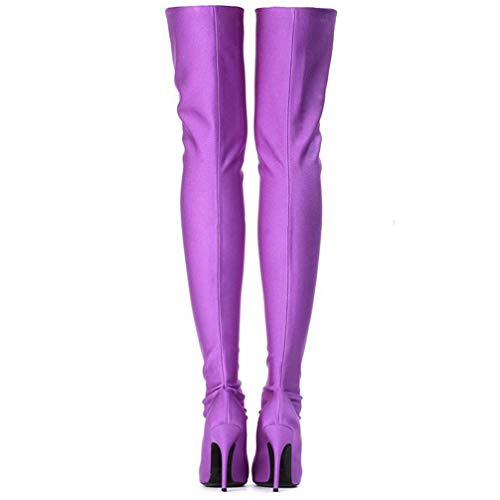 2fb71712ef1b T-JULY Women's Over The Knee Boots Satin Pointed Toe Thin High Heels Sexy  Party
