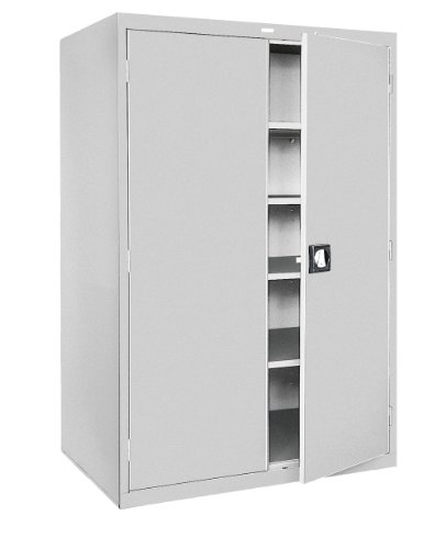 Sandusky Lee KDE7848-05 Dove Gray Steel Powder Coat SnapIt Storage Cabinet, Keyless Electronic Coded Lock, 4 Adjustable Shelves, 78