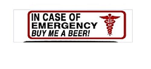"In Case Of Emergency Buy Me A Beer Helmet Stickers - Artwork Decals, 4"" x 1"""
